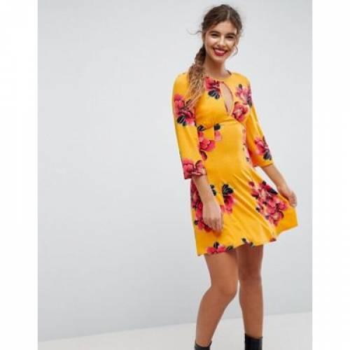 ドレス レディースファッション ワンピース 【 ASOS MINI TEA DRESS WITH FLUTED SLEEVES IN ORCHID PRINT 】