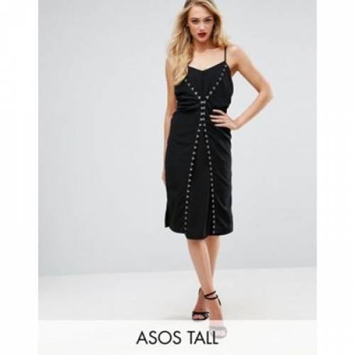 ドレス & レディースファッション ワンピース 【 ASOS TALL HOOK EYE DETAIL SLIP MIDI DRESS 】