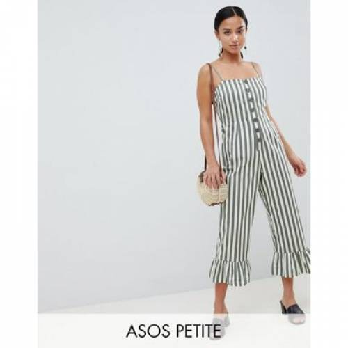 ストライプ レディースファッション オールインワン サロペット 【 STRIPE ASOS DESIGN PETITE COTTON FRILL HEM JUMPSUIT WITH SQUARE NECK AND BUTTON DETAIL IN 】