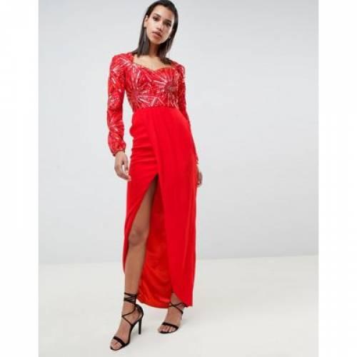 ドレス 赤 レッド レディースファッション ワンピース 【 RED VIRGOS LOUNGE DARLINE EMBELLISHED SWEETHEART MAXI DRESS WITH THIGH SPLIT IN 】