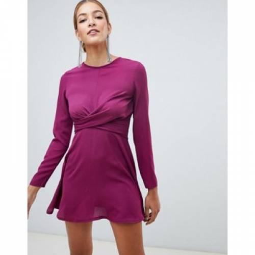 ドレス 紫 パープル レディースファッション ワンピース 【 PURPLE BOOHOO EXCLUSIVE TWIST DETAIL SKATER DRESS IN 】