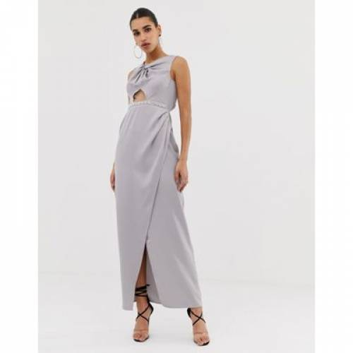 パール ドレス レディースファッション ワンピース 【 ASOS DESIGN PEARL TRIM TWIST FRONT MAXI DRESS 】