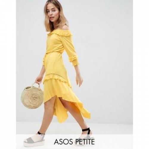 ドレス レディースファッション ワンピース 【 ASOS DESIGN PETITE OFF SHOULDER SHIRRED CUFF MIDI TEA DRESS 】