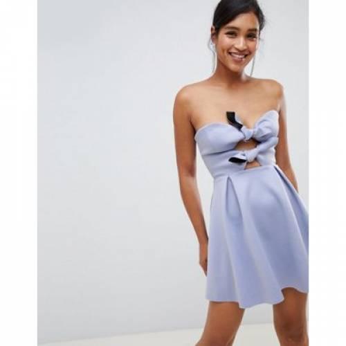 ドレス レディースファッション ワンピース 【 ASOS DESIGN SCUBA KNOT FRONT MINI SKATER DRESS 】