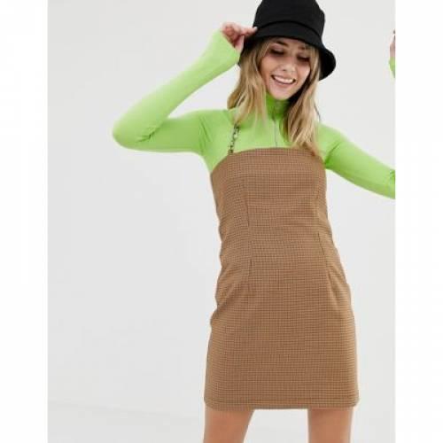 ドレス ストラップ レディースファッション ワンピース 【 THE RAGGED PRIEST MINI DRESS IN CHECK WITH CHAIN STRAP 】