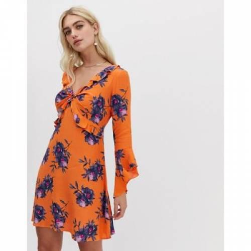 ドレス レディースファッション ワンピース 【 RIVER ISLAND FLORAL PRINT FRILL FRONT TEA DRESS 】