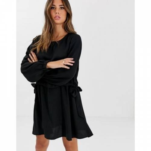 ドレス レディースファッション ワンピース 【 ASOS DESIGN RUCHED WAIST CHUCK ON MINI DRESS WITH LONG SLEEVES 】