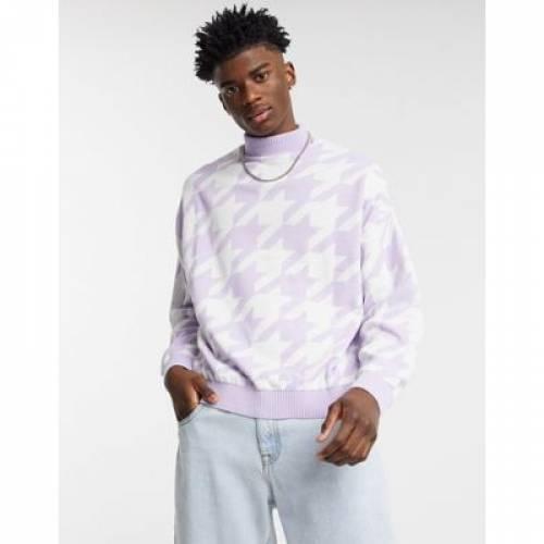 その他ファッションブランド カジュアル ファッション そのた 期間限定今なら送料無料 メンズファッション トップス ASOS 安心の定価販売 DESIGN KNITTED JUMPER OVERSIZED HOUNDSTOOTH IN WITH LILAC