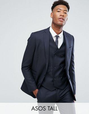 スリム 紺 ネイビー 100% メンズファッション スーツ セットアップ 【 SLIM NAVY ASOS TALL SUIT JACKET IN WOOL 】 ※セットアップではありません