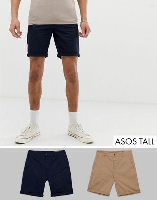 【海外限定】スリム チノ ショーツ ハーフパンツ 紺 ネイビー & メンズファッション パンツ 【 SLIM NAVY ASOS TALL 2 PACK CHINO SHORTS IN STONE SAVE 】