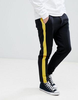 【海外限定】ストライプ 黒 ブラック メンズファッション ズボン 【 STRIPE BLACK STRADIVARIUS SIDE JOGGER IN 】