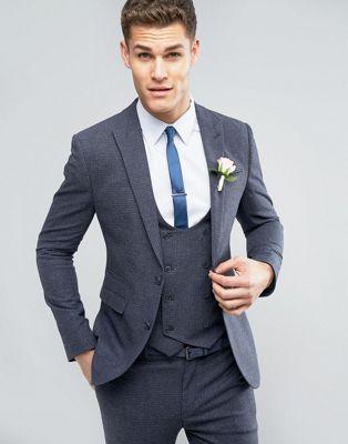 青 ブルー メンズファッション スーツ セットアップ 【 BLUE ASOS WEDDING SUPER SKINNY SUIT JACKET IN MINI CHECK 】 ※セットアップではありません