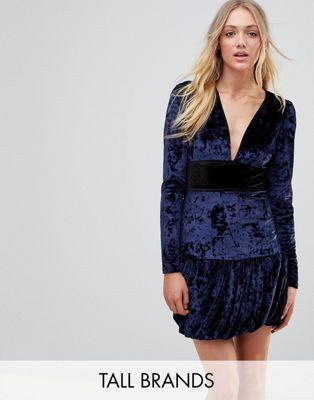 ドレス レディースファッション ワンピース 【 VERO MODA TALL VELVET FRILL HEM MINI DRESS 】