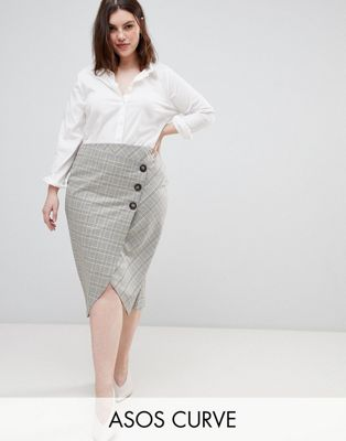 【海外限定】ラップ スカート ボトムス 【 WRAP ASOS DESIGN CURVE TAILORED MIDI SKIRT IN CHECK WITH BUTTON DETAIL 】