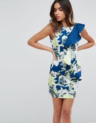 ドレス レディースファッション ワンピース 【 ASOS BRIGHT FLORAL RUFFLE SCUBA MINI DRESS 】