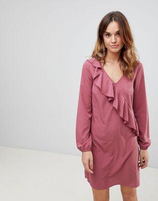 【海外限定】ドレス ワンピース レディースファッション 【 VILA RUFFLE PANEL DRESS 】