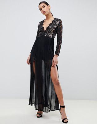 【海外限定】ドレス 黒 ブラック レディースファッション ワンピース 【 BLACK RARE LONDON MAXI DRESS WITH SCALLOPED LACE DETAIL IN 】
