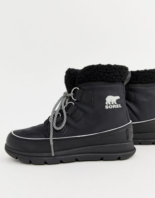 【海外限定】黒 ブラック ナイロン ブーツ 【 BLACK SOREL EXPLORER CARNIVAL WATERPROOF NYLON BOOTS WITH MICROFLEECE LINING 】