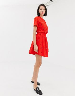 【海外限定】赤 レッド レディースファッション ボトムス 【 RED PIECES DITSY FLORAL MINI SKATER SKIRT IN 】