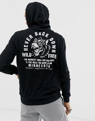 【海外限定】黒 ブラック パーカー トップス 【 BLACK YOURTURN HOODIE IN WITH TIGER CHEST AND BACK PRINT 】