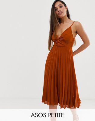 【海外限定】ドレス スカート ボトムス 【 ASOS PETITE TWIST FRONT CAMI MIDI DRESS WITH PLEAT SKIRT 】