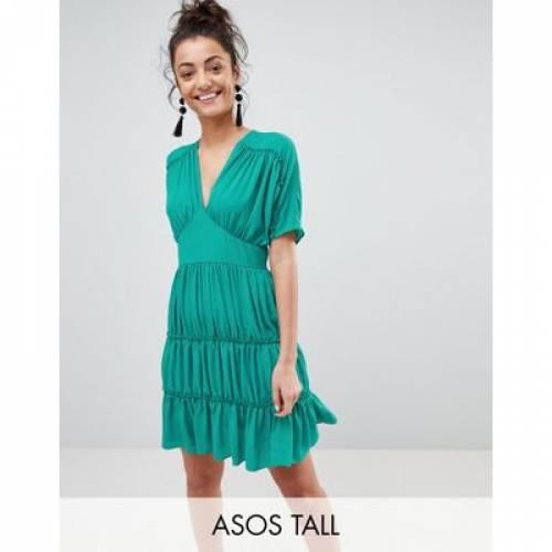 ドレス レディースファッション ワンピース 【 ASOS TALL SOFT MINI DRESS WITH TIERS 】