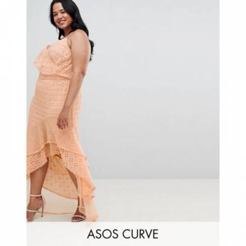 ドレス レディースファッション ワンピース 【 ASOS DESIGN CURVE ASYMMETRIC RUFFLLE BRODERIE MAXI DRESS 】