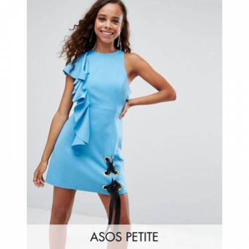 ドレス レディースファッション ワンピース 【 ASOS PETITE SCUBA EYELET TIE UP RUFFLE MINI DRESS 】
