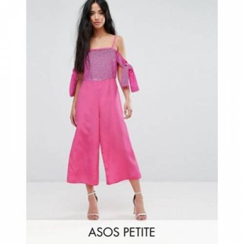 レディースファッション オールインワン サロペット 【 ASOS PETITE EMBELLISHED COLD SHOULDER JUMPSUIT 】