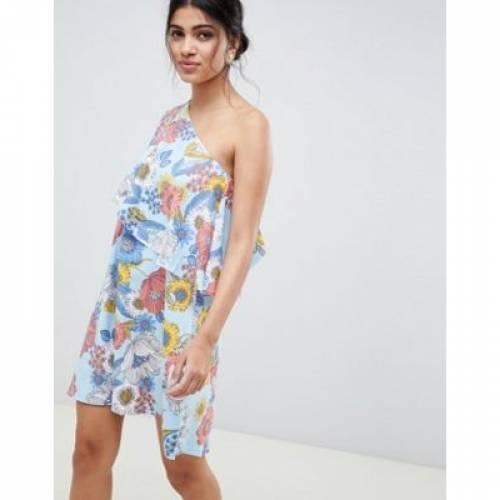 ドレス レディースファッション ワンピース 【 ASOS DESIGN ONE SHOULDER CAPE DRESS WITH HI LO HEM IN RETRO FLORAL 】