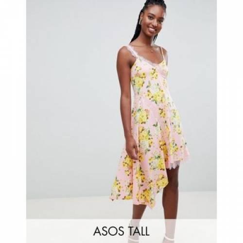 ドレス レディースファッション ワンピース 【 ASOS DESIGN TALL FLORAL PRINT LACE INSERT SLIP DRESS 】