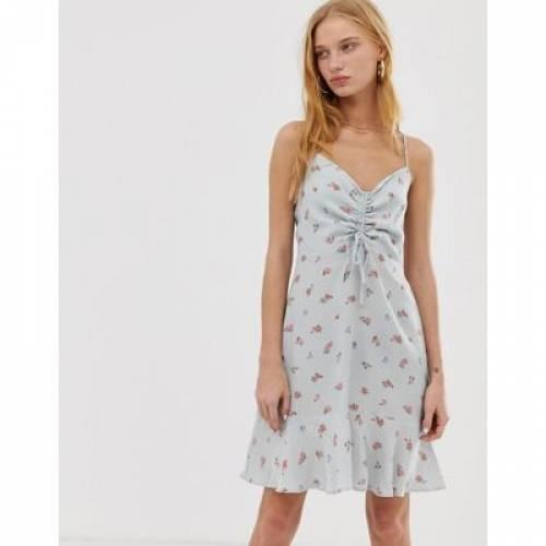 ドレス 青 ブルー レディースファッション ワンピース 【 BLUE WAREHOUSE DITSY PRINT RUCHED DRESS IN PALE 】