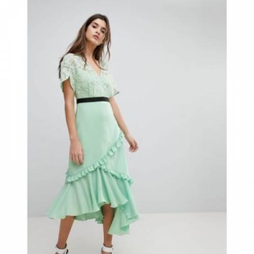 ドレス レディースファッション ワンピース 【 THREE FLOOR MIDI DRESS WITH LACE BODICE 】