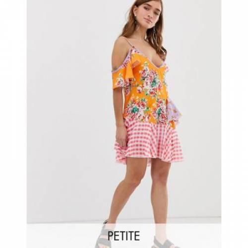 ドレス レディースファッション ワンピース 【 JADED LONDON PETITE MIX PRINT LAYERED MINI DRESS 】