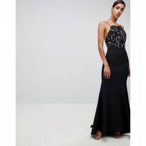 ドレス 黒 ブラック レディースファッション ワンピース 【 BLACK JARLO LACE TOP OPEN BACK FISHTAIL MAXI DRESS IN 】