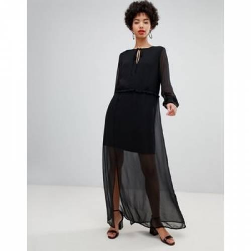 ドレス 黒 ブラック レディースファッション ワンピース 【 BLACK VERO MODA CHIFFON SHEER MAXI DRESS WITH CUFF DETAIL IN 】