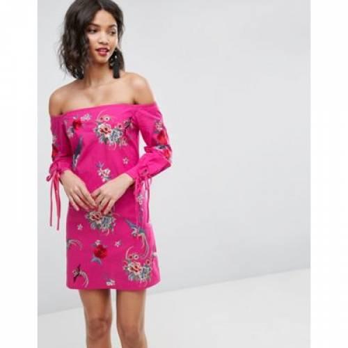 ドレス レディースファッション ワンピース 【 ASOS OFF SHOULDER EMBROIDERY MINI DRESS WITH CUFF TIES 】