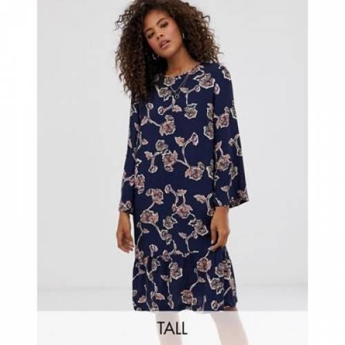 ドレス 紺 ネイビー Y.A.S レディースファッション ワンピース 【 NAVY TALL ALLOVER FLORAL PRINTED MINI SHIFT DRESS IN 】