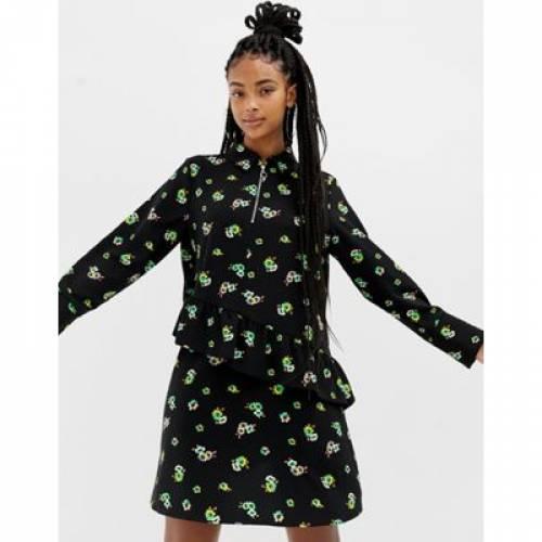 ドレス レディースファッション ワンピース 【 COLLUSION FLORAL PRINT MINI DRESS WITH ZIP FRONT 】