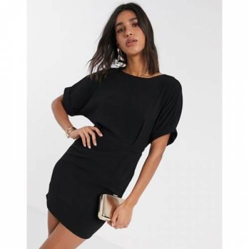 【★スーパーセール中★ 9/11深夜2時迄】ドレス 黒 ブラック レディースファッション ワンピース 【 BLACK ASOS DESIGN WIGGLE MINI DRESS IN 】