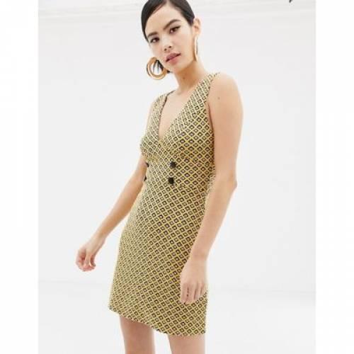 ドレス 黄色 イエロー レディースファッション ワンピース 【 YELLOW MISS SELFRIDGE PINNY DRESS WITH BUTTON DETAIL IN JACQUARD 】