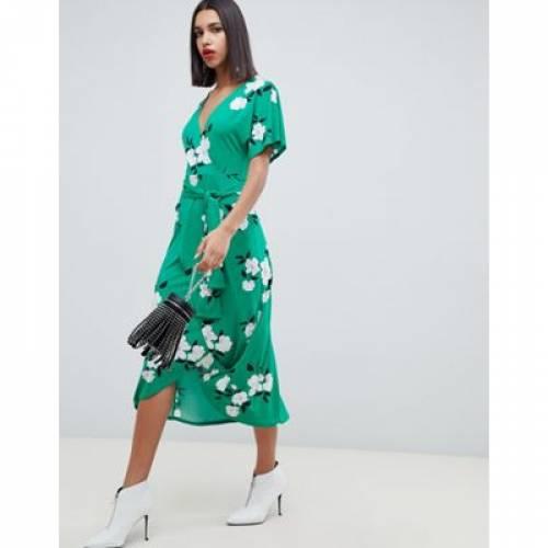 緑 グリーン ラップ ドレス レディースファッション ワンピース 【 GREEN WRAP ASOS DESIGN FLORAL MAXI DRESS 】