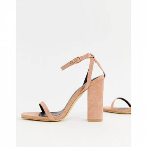【 RAID ANUSHA BLUSH BLOCK HEELED SANDALS 】