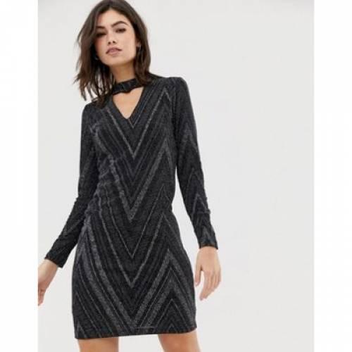 ドレス 黒 ブラック レディースファッション ワンピース 【 BLACK OASIS GLITTER BODYCON DRESS WITH CUT OUT DETAIL IN 】