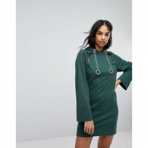 スウェット ドレス レディースファッション ワンピース 【 SWEAT ASOS HOODED MINI DRESS WITH CHAINS AND CUT OUTS 】