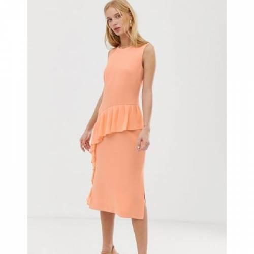 ドレス レディースファッション 【 WAREHOUSE FRILL FRONT DRESS 】
