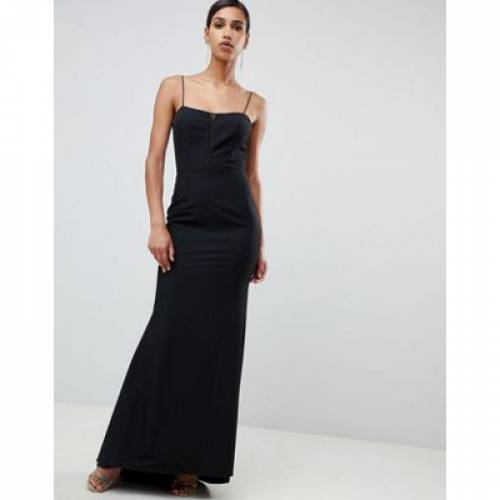 ストラップ ドレス 黒 ブラック レディースファッション ワンピース 【 BLACK JARLO CAMI STRAP FISHTAIL MAXI DRESS WITH LACE INSERT IN 】