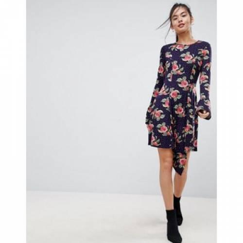 ドレス レディースファッション ワンピース 【 ASOS MINI DRESS WITH HANKY HEM AND FRILL CUFF IN SPOT FLORAL PRINT 】
