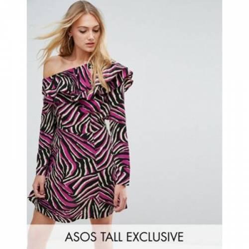 ドレス レディースファッション ワンピース 【 ASOS TALL BRIGHT ANIMAL RUFFLE SKATER MINI DRESS 】