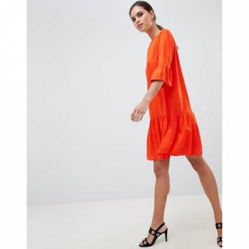 スリーブ ドレス 橙 オレンジ Y.A.S レディースファッション ワンピース 【 SLEEVE ORANGE FLUTED DROP HEM MINI DRESS IN 】